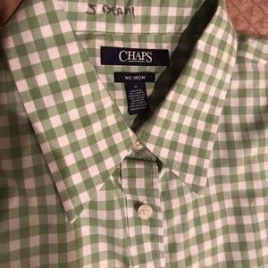 Chaps No Iron medium green / white shirt gingham